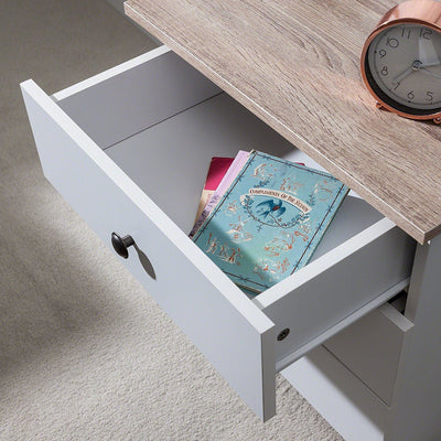 3 Drawer Bedside Tables in white (KNOB HANDLE) - Laura James