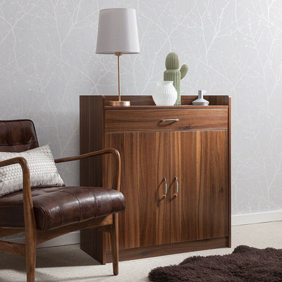 Sideboard U2013 Home Office Cupboard Shoe Cabinet Unit Chest U2013 With Drawer And  Shelves (Walnut