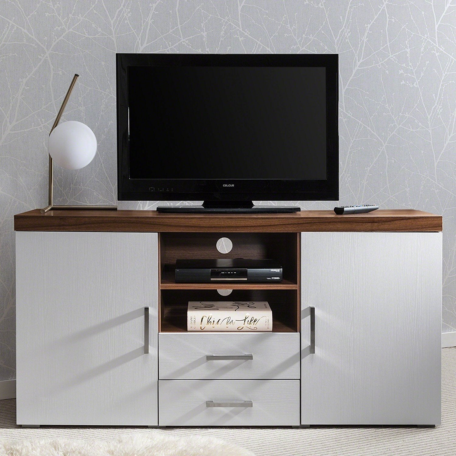 Credenza Mobile Porta Tv.Laura James Sideboard Tv Stand Cabinet With Drawer And Shelves Walnu