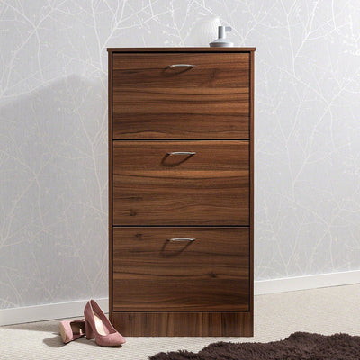 Shoe Cabinet Wooden Storage Organizer Footwear 3 Drawer Rack (Walnut) - Laura James
