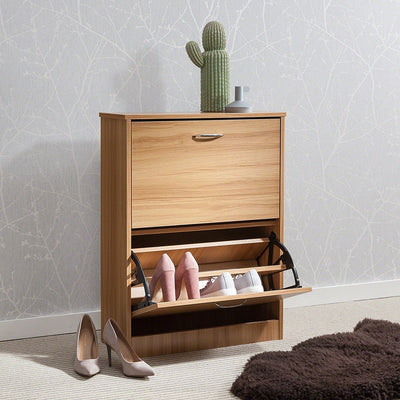 Shoe Cabinet Wooden Storage Organizer Footwear 2 Drawer Rack (Beech) - Laura James