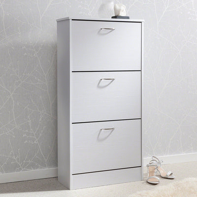 White Shoe Cabinet Storage Cupboard Wooden - Laura James