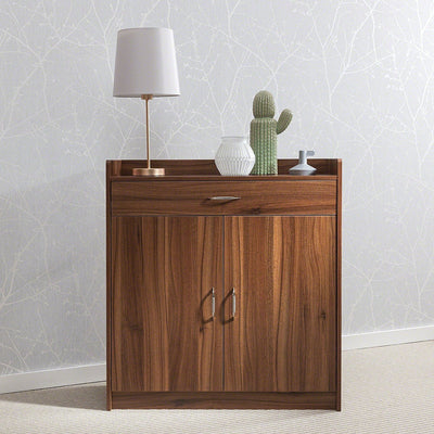 Sideboard – Home Office Cupboard Shoe Cabinet Unit Chest – with drawer and shelves (Walnut) - Laura James