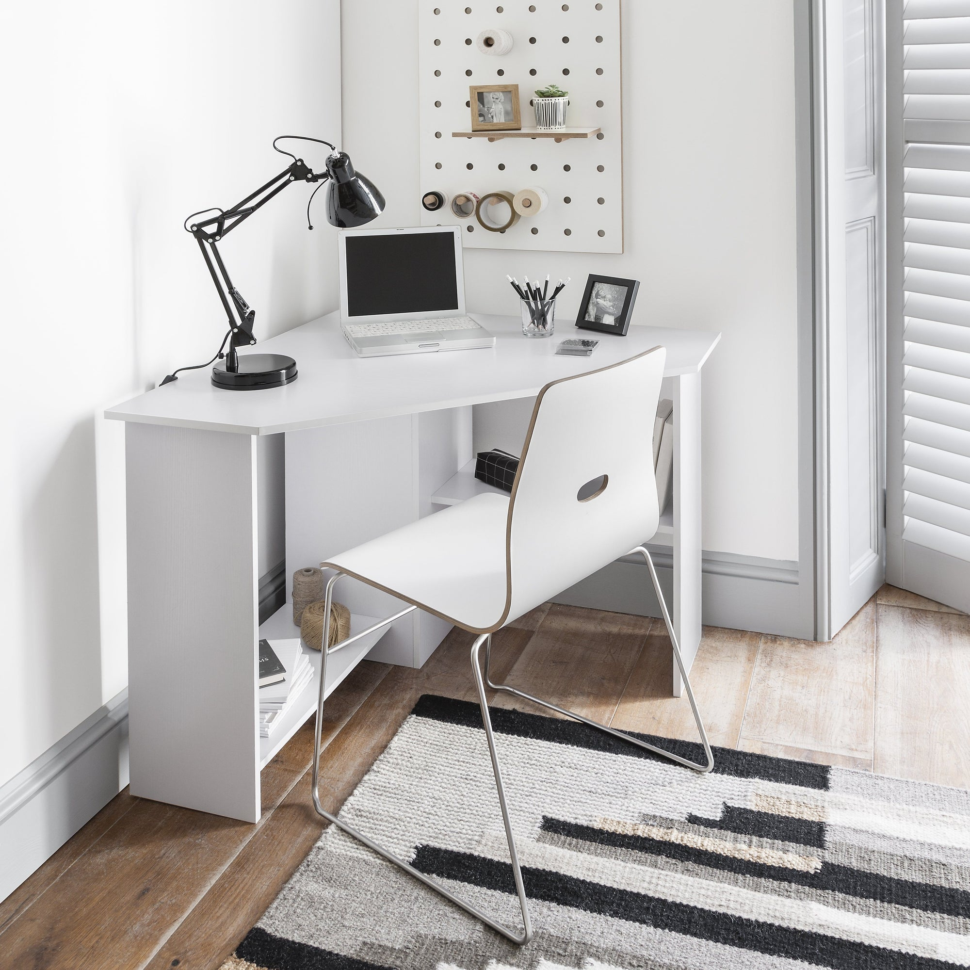 Corner home office desk computer workstation pc laptop table with shelves white laura james