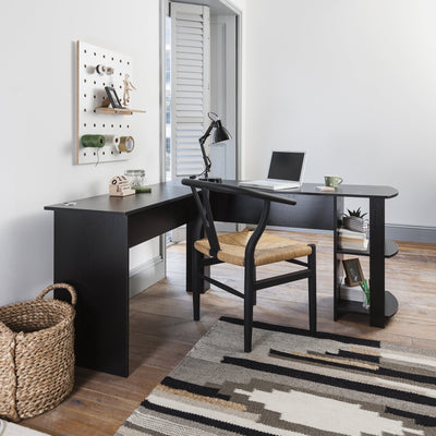 L-Shaped Office Computer Desk, Corner PC Table with 2 Shelves for Home & Office Black - Laura James