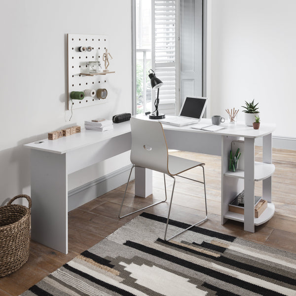 White Corner Computer Desk For Home Office Laura James