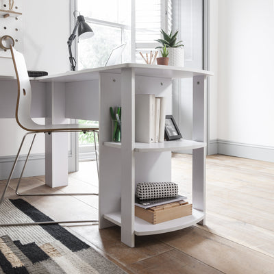 White Corner Computer Desk For Home Office - Laura James