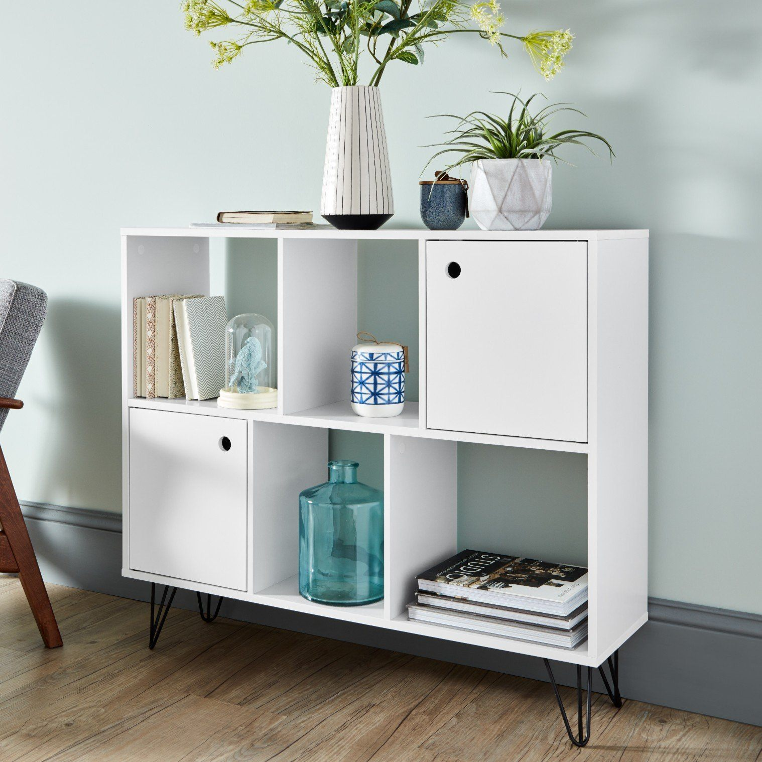 Anderson White Mid Century Modern Scandi Style Shelving Unit - Laura James