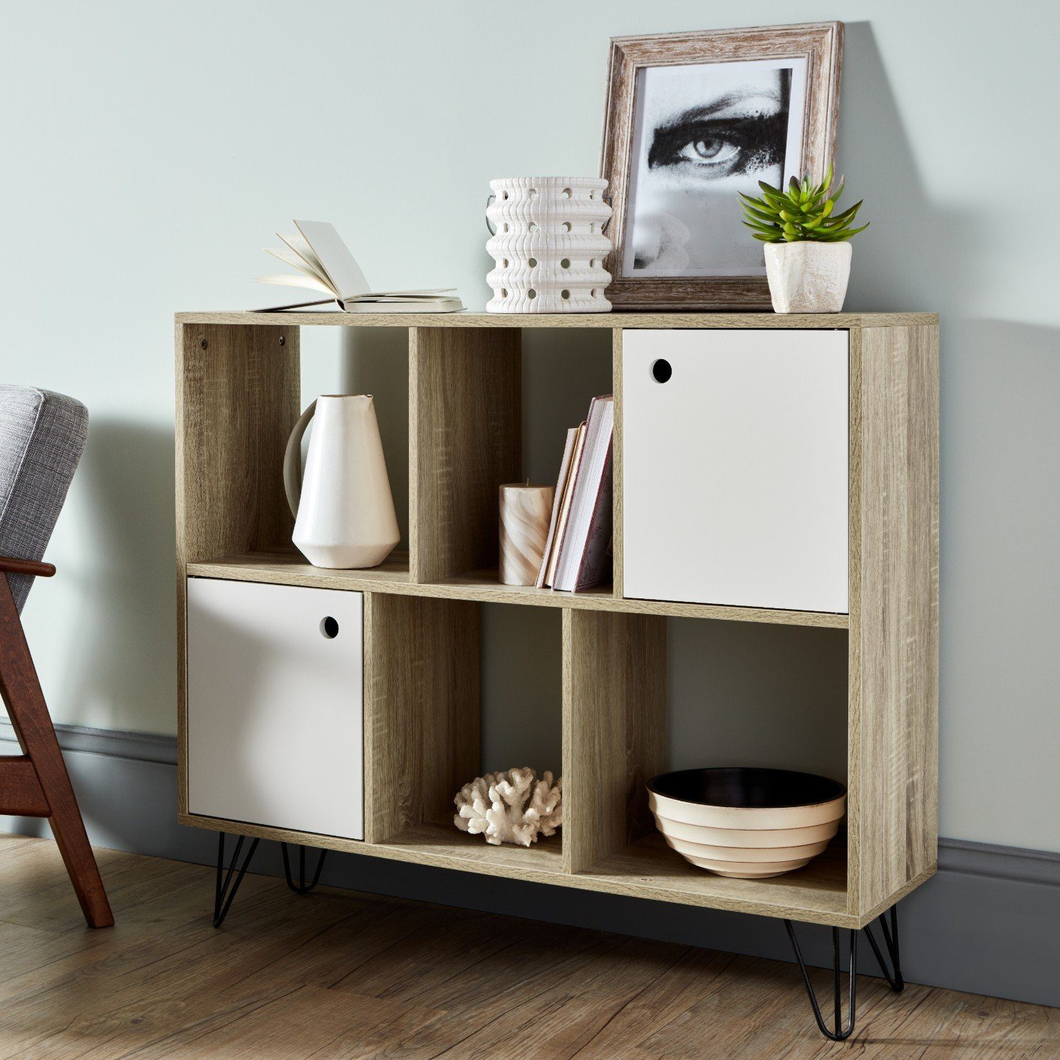Anderson Oak Effect Mid Century Modern Scandi Style Shelving Unit - Laura James