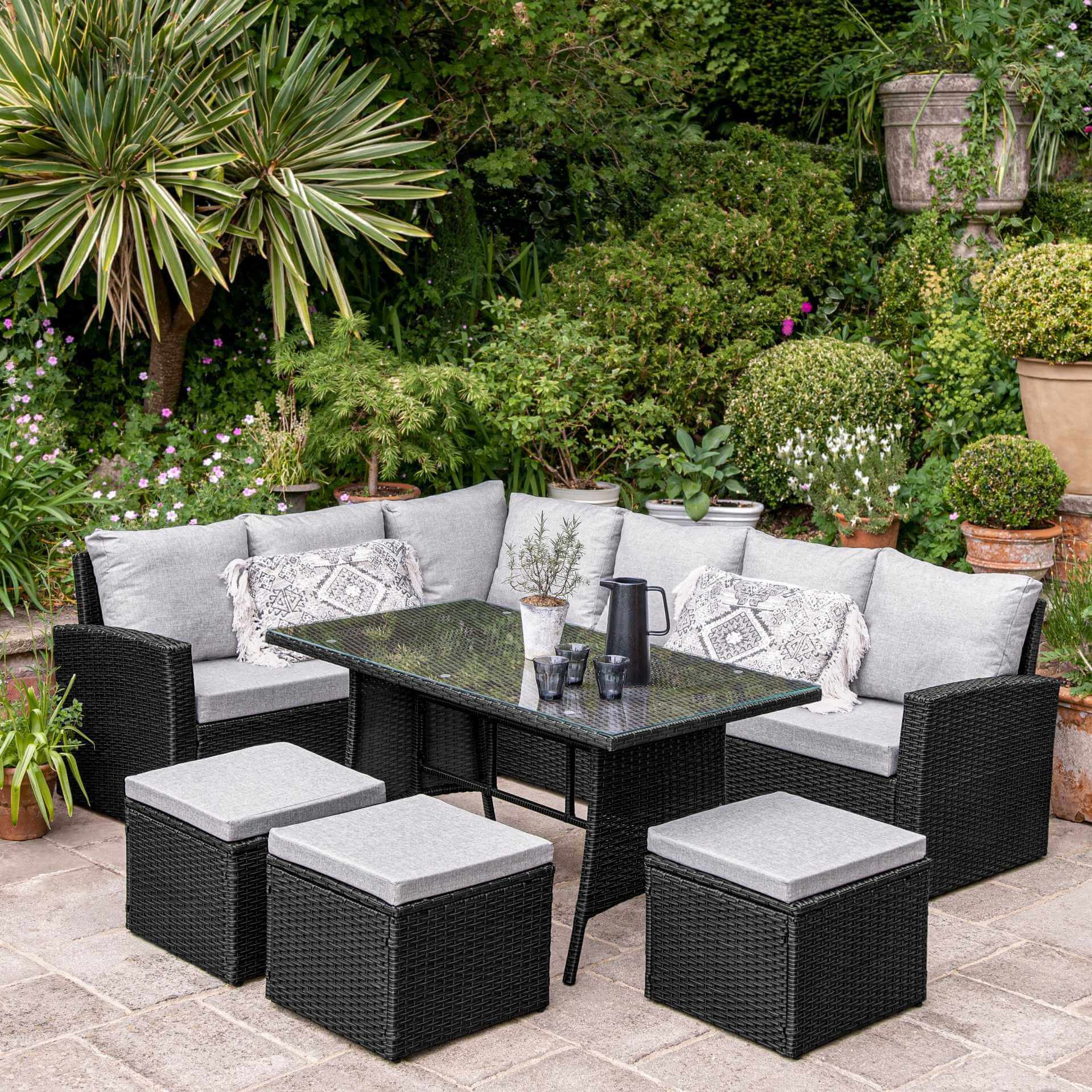 9 Seater Rattan Outdoor Corner Sofa Set - Black Weave - Laura James
