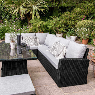 9 Seater Rattan Outdoor Corner Sofa Set with Lean Over Parasol and Base - Black Weave