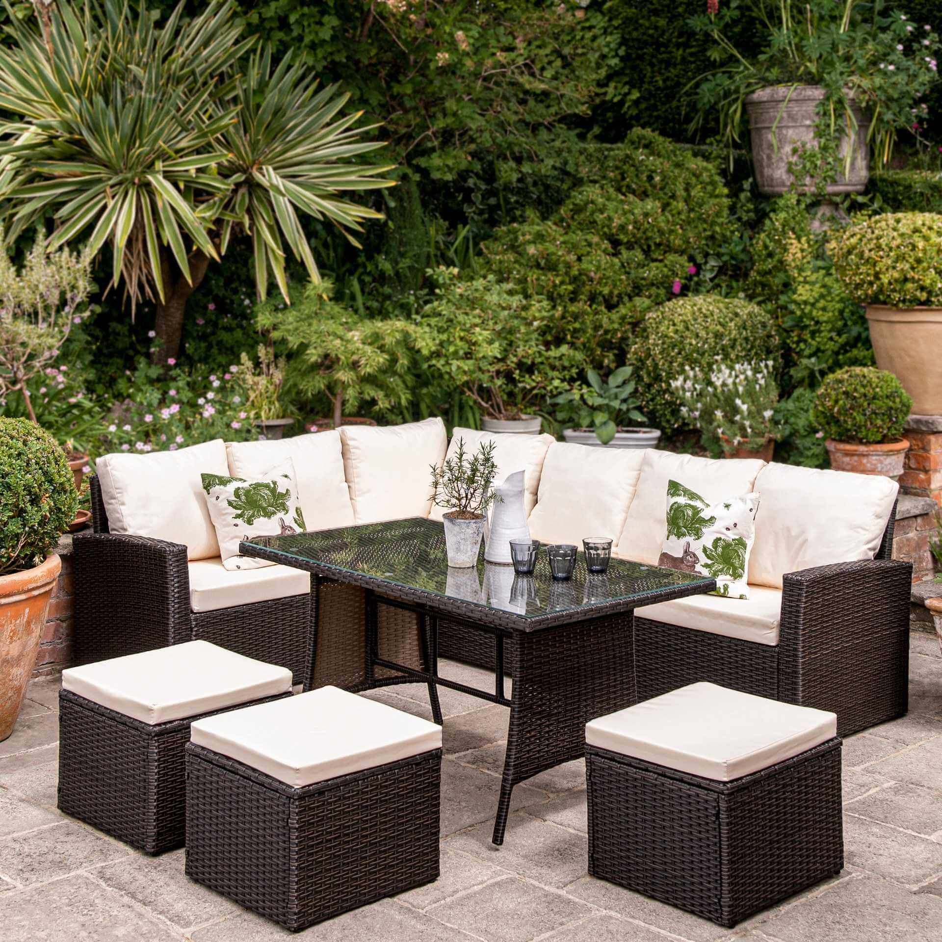 9 Seater Rattan Outdoor Corner Sofa Set - Brown Weave