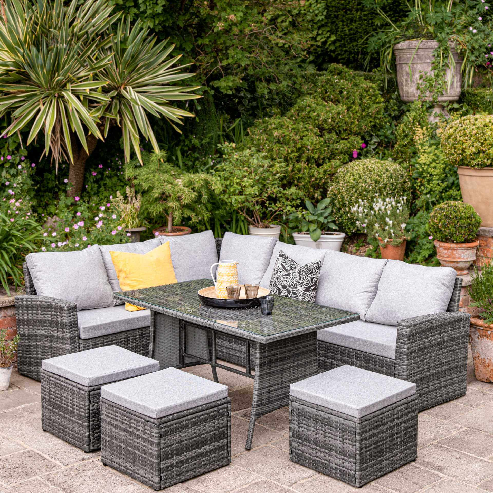9 Seater Rattan Outdoor Corner Sofa Set - Grey Weave - Laura James