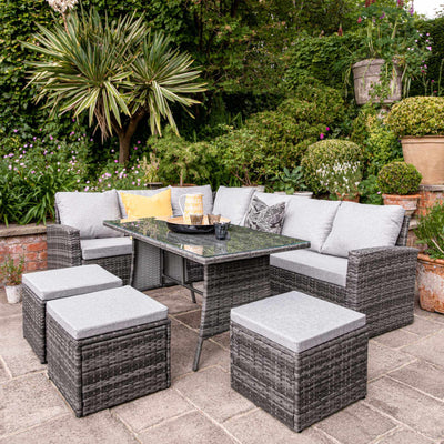 9 Seater Rattan Outdoor Corner Sofa Set with Cantilever Parasol and Base - Grey Weave
