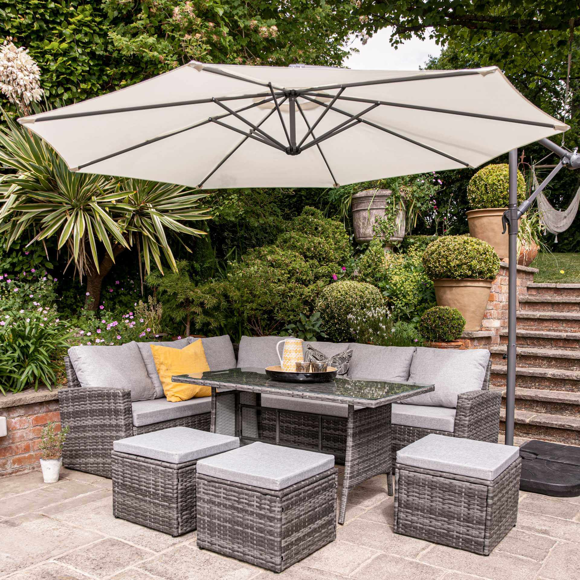 9 Seater Rattan Outdoor Corner Sofa Set with Lean Over Parasol and Base - Grey Weave - Laura James