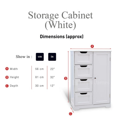 White Painted Bathroom Cabinet - with 4 Drawers and Shelf - Laura James
