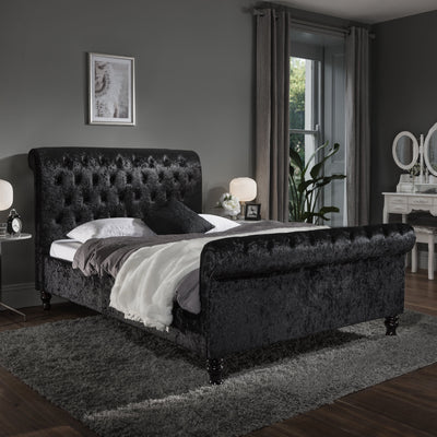 Black Crushed Velvet Sleigh Bed Frame Double - Laura James