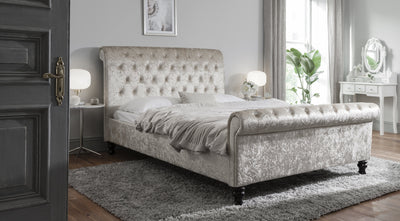 Crushed Velvet Sleigh Bed Frame Upholstered Double Champagne - Laura James