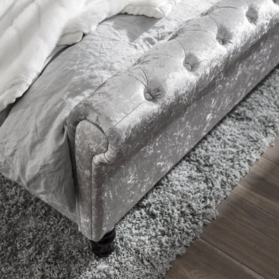 Silver Crushed Velvet Sleigh Bed Frame Double - Laura James
