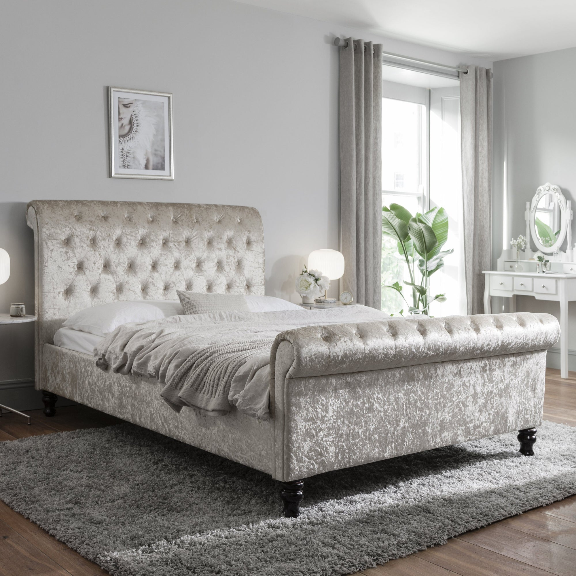 Double Crushed Velvet Sleigh Bed Frame - Champagne - Laura James