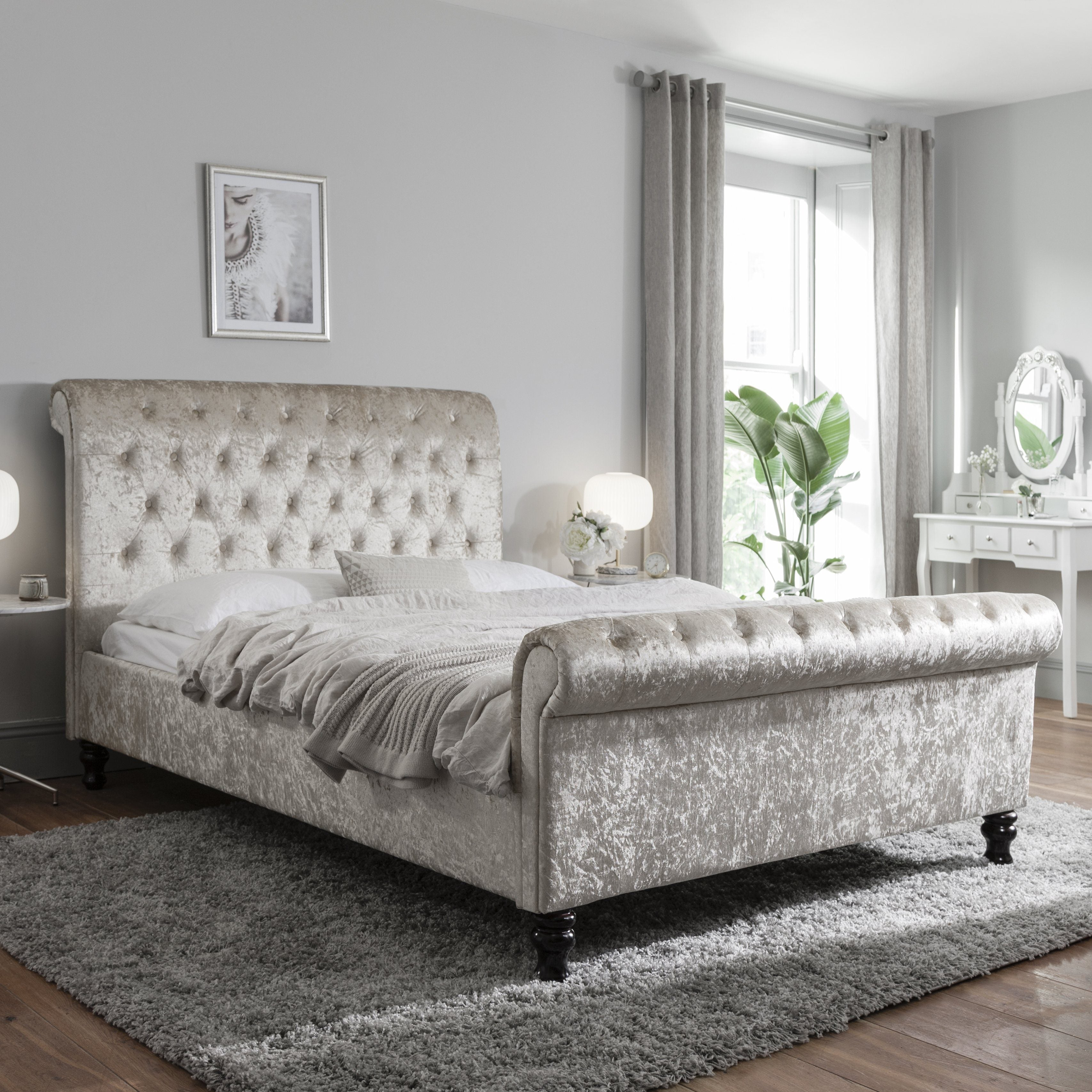 Double Crushed Velvet Sleigh Bed Frame Champagne Laura James