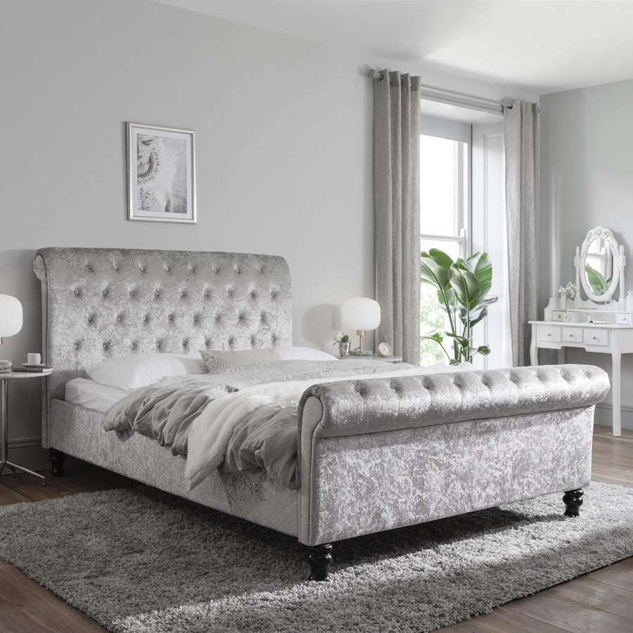 Chesterfield double 4ft6 sleigh bed frame in silver crushed velvet fabric laura james