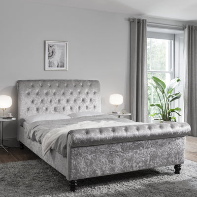 Silver Crushed Velvet Sleigh Bed Frame Upholstered Double - Laura James