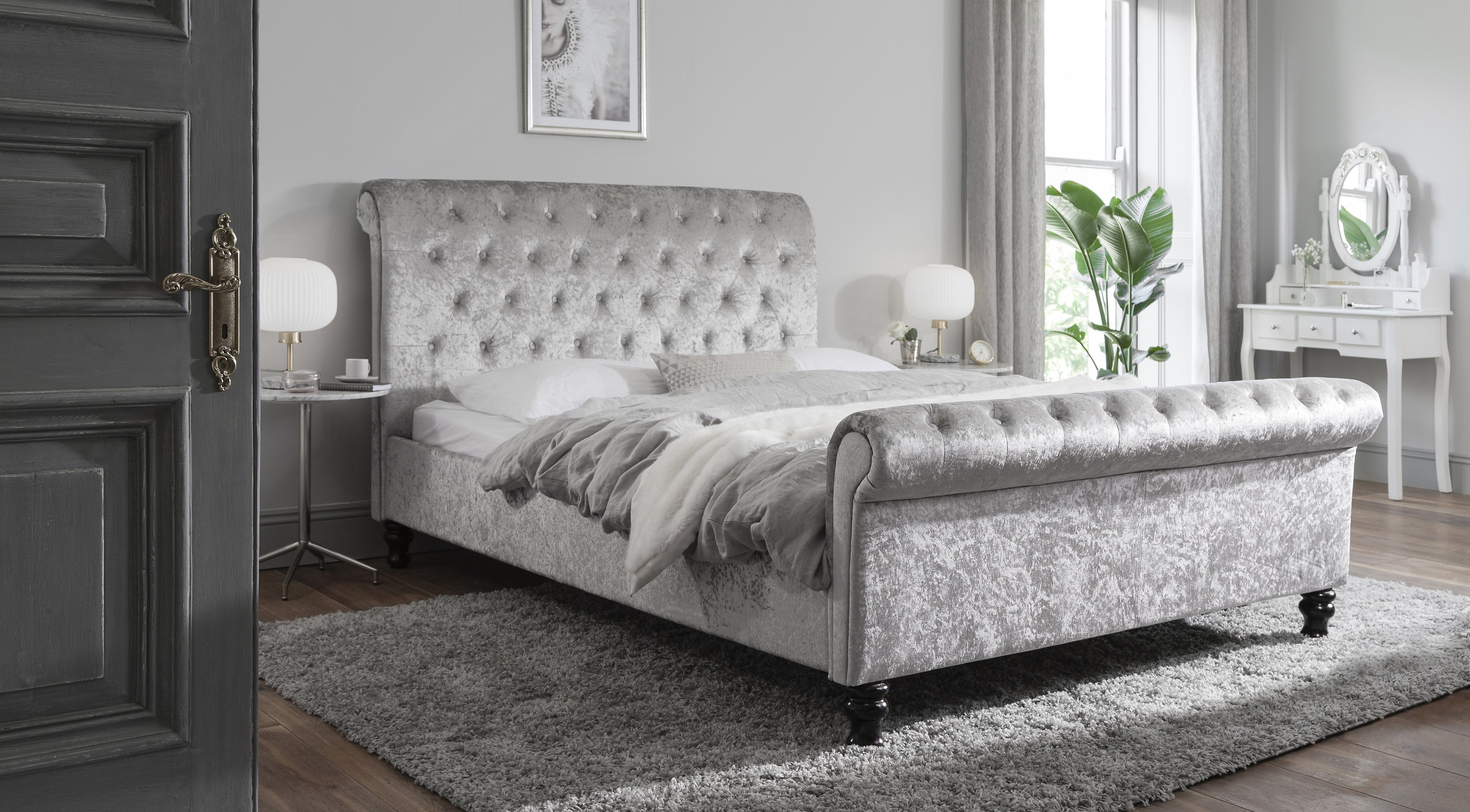 Picture of: Silver Crushed Velvet Sleigh Bed Frame King Size Delivery On Or Befo Laura James