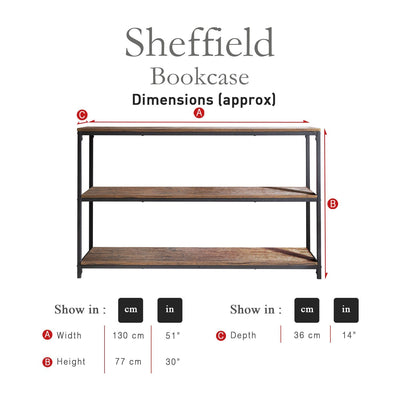 Industrial Bookcase - Wood Effect & Metal Frame - Laura James