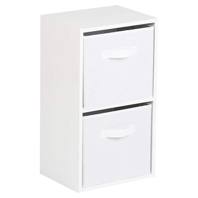 2 Tier Storage Unit / White Bookcase - Laura James