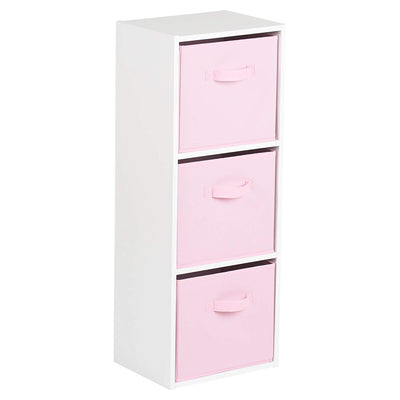 3 Tier White Bookcase Wooden Display Shelving Unit with storage box (Pink) - Laura James
