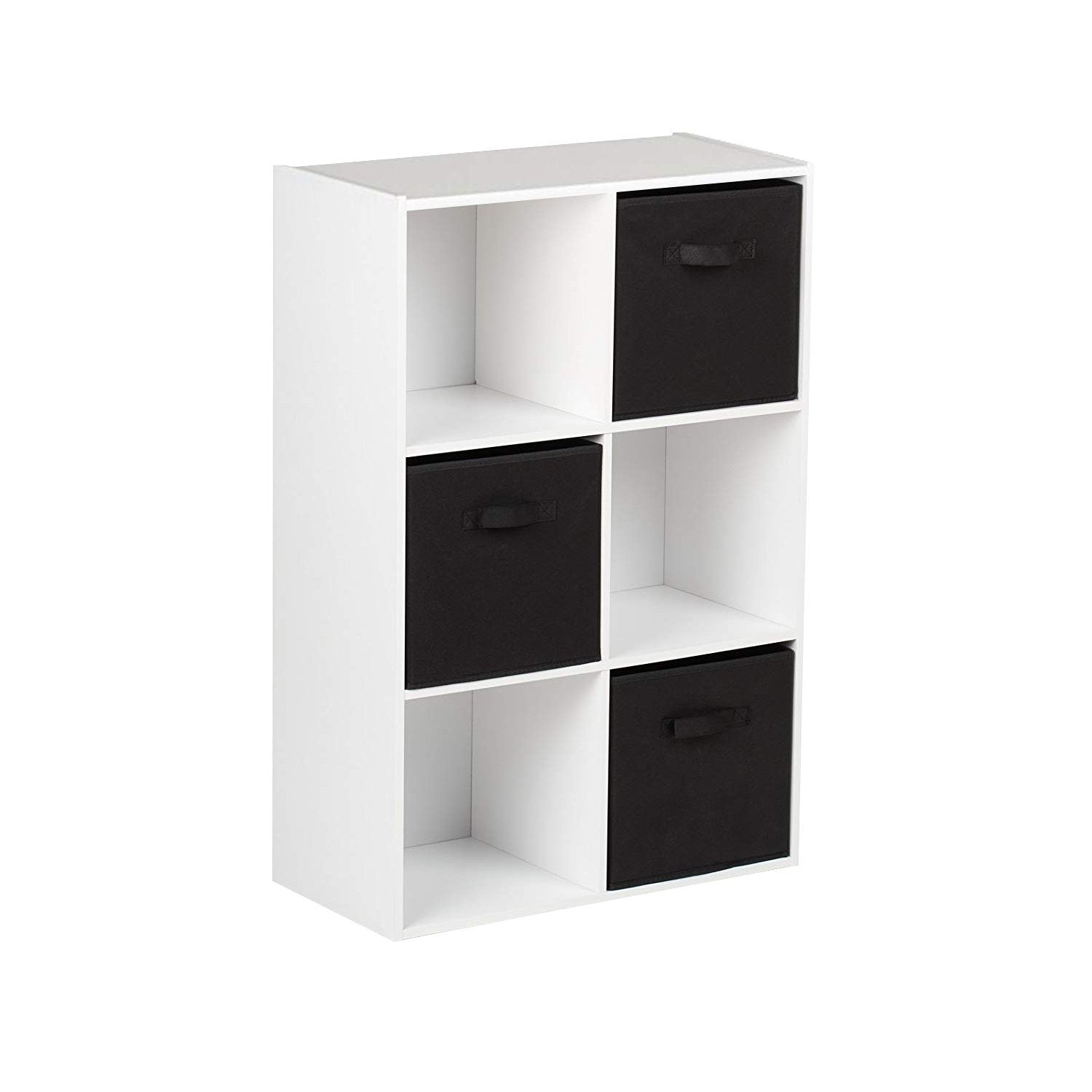 6 Cube White Bookcase Wooden Display Unit Shelving Storage Bookshelf Shelves (Black Basket) - Laura James