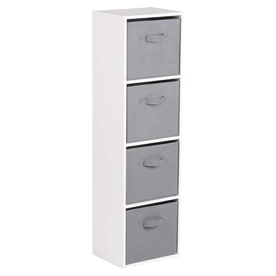 4 Tier Storage Unit / White Bookcase - Laura James