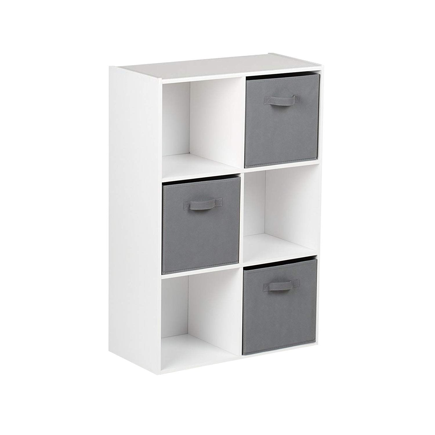 6 Cube White Bookcase Wooden Display Unit Shelving Storage Bookshelf Shelves (Grey Basket) - Laura James
