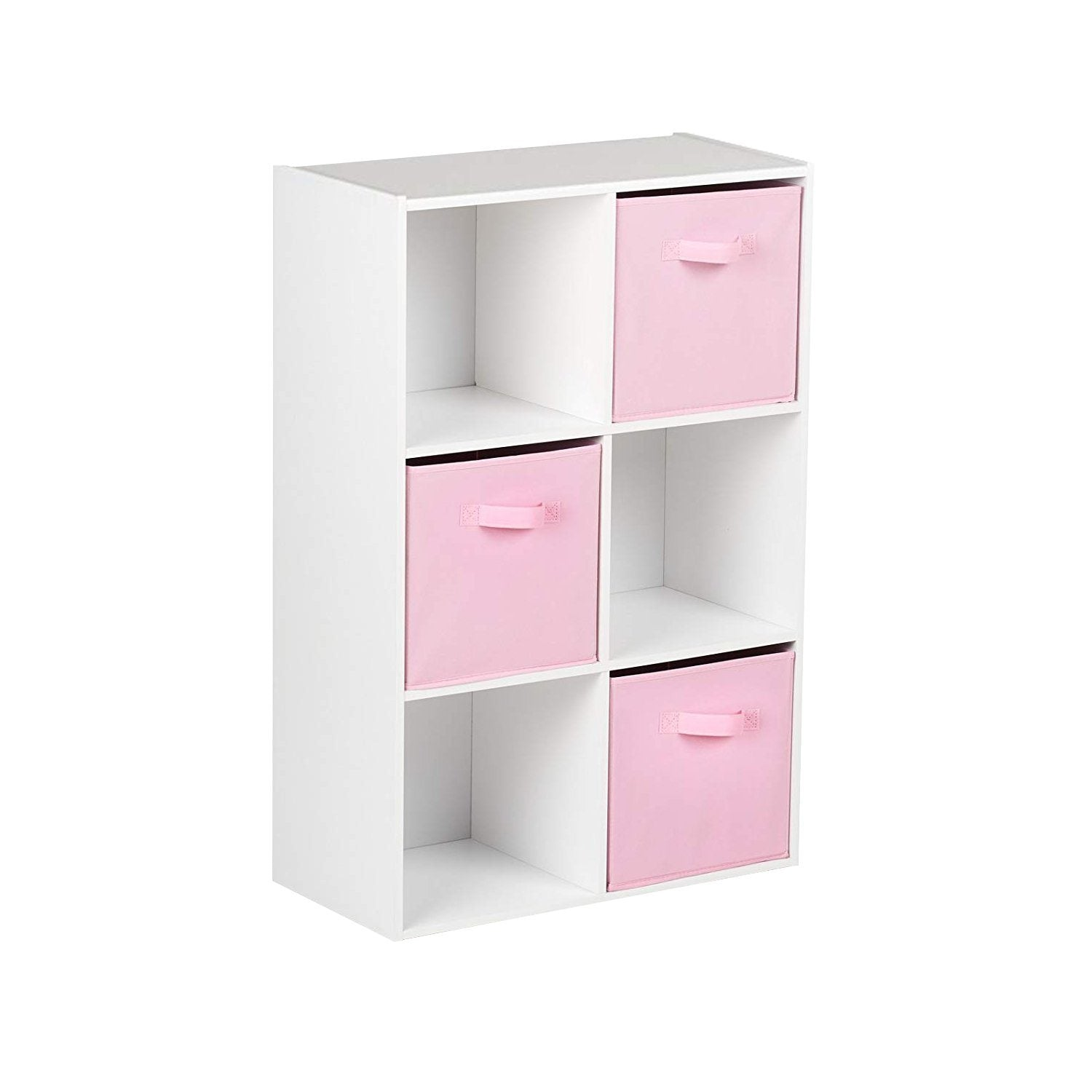 6 Cube White Bookcase Wooden Display Unit Shelving Storage Bookshelf Shelves (Pink Basket) - Laura James