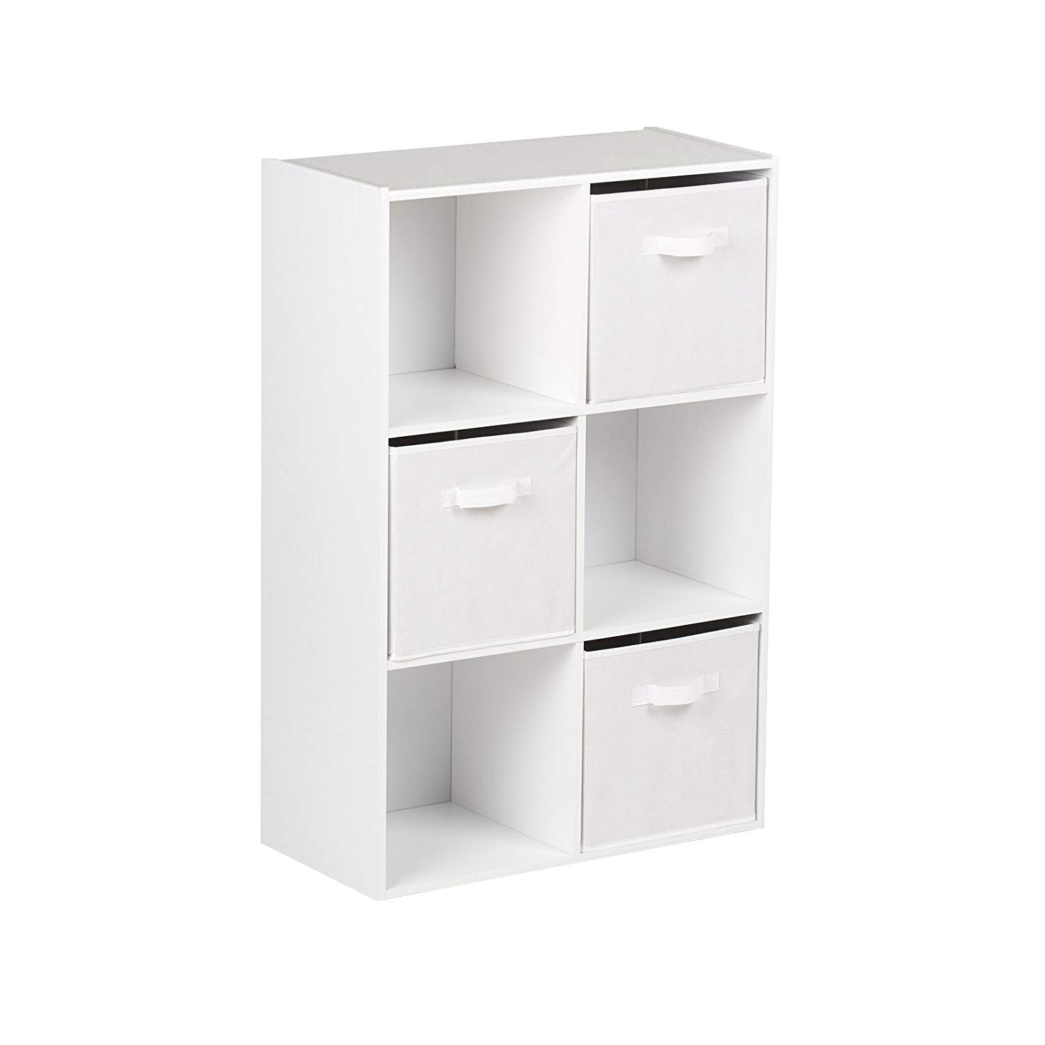 6 Cube White Bookcase Wooden Display Unit Shelving Storage Bookshelf Shelves (White Basket) - Laura James