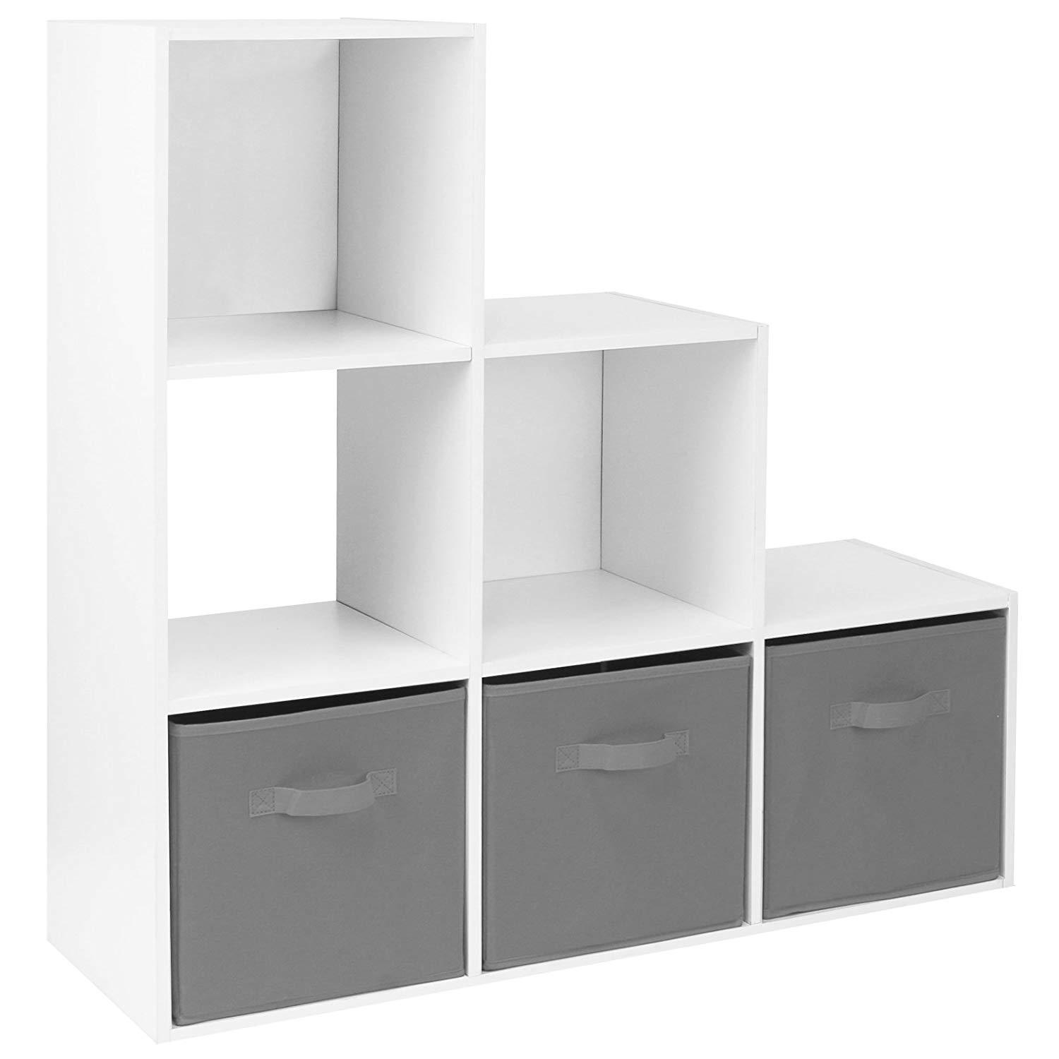 White 4 Tier Cube Bookcase Staircase Shelf Ladder Display Storage Shelving Unit