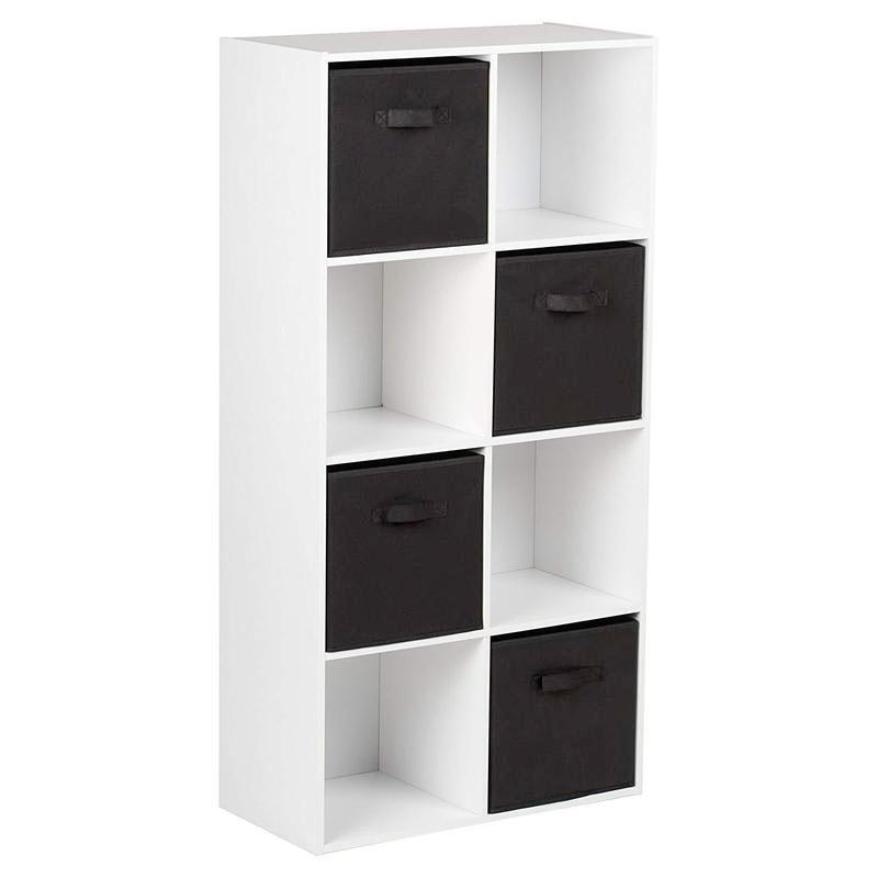 8 Cube Storage Unit in White & 4 Black Handled Box Drawers - Laura James
