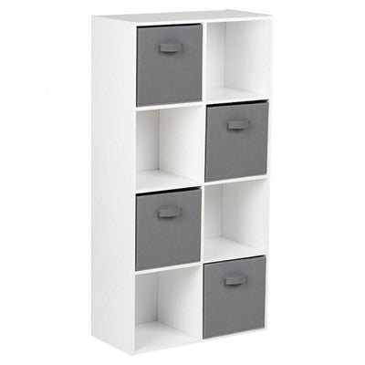8 Cube Storage Unit in White & 4 Grey Handled Box Drawers - Laura James