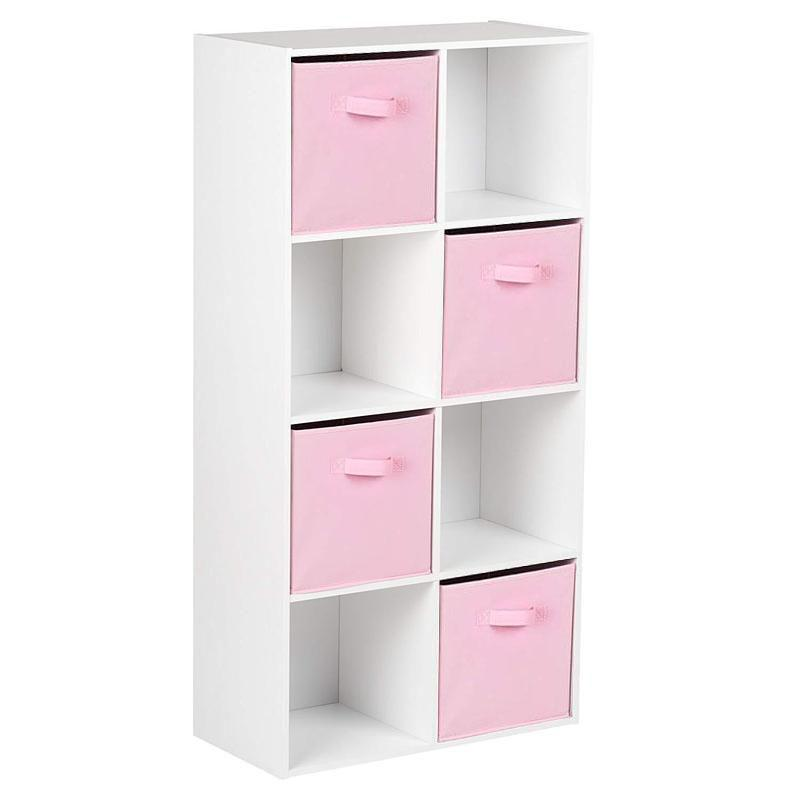 8 Cube Storage Unit in White & 4 Pink Handled Box Drawers - Laura James