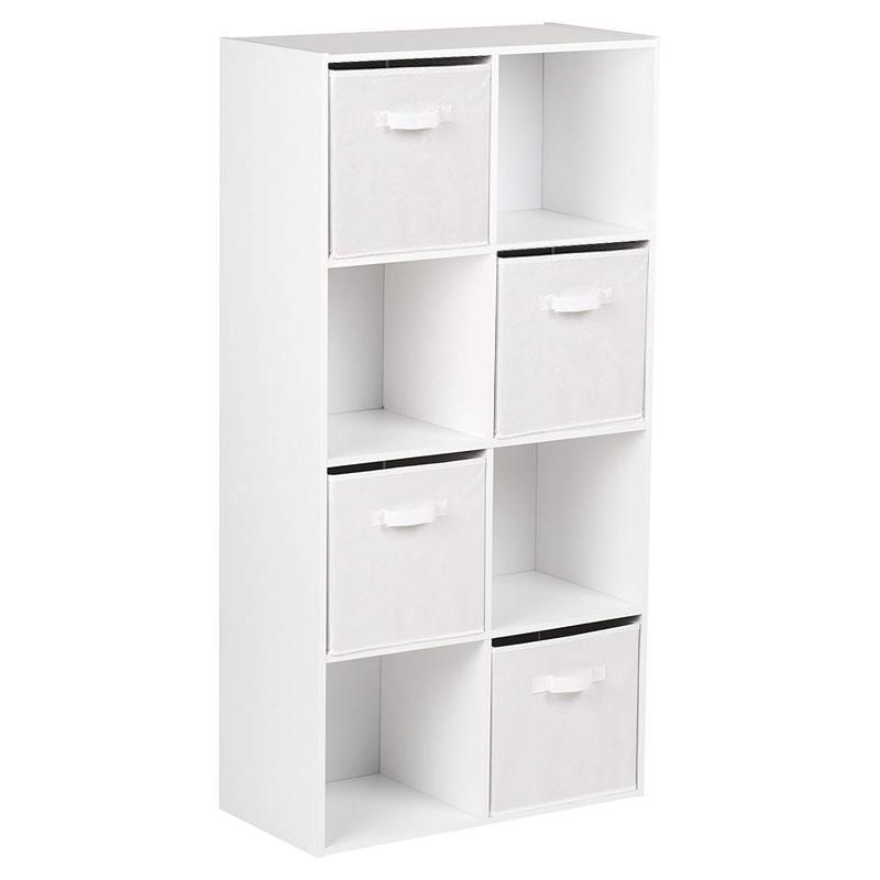 8 Cube Shelf Unit & 4 White Handled Box Drawers - Laura James