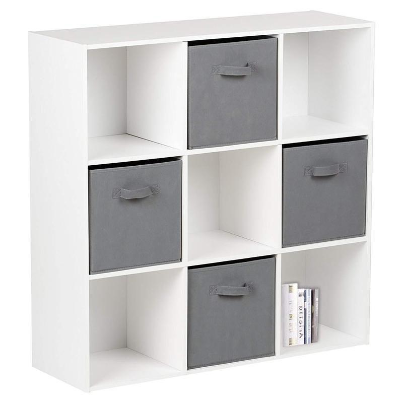 9 Cube Storage Unit & 4 Grey Handled Box Drawers - Laura James