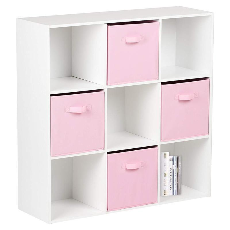 9 Cube Storage Unit / Bookcase & 4 Pink Handled Box Drawers - Laura James