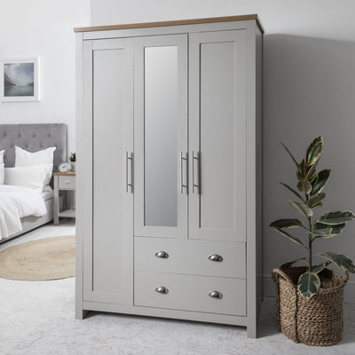 Bampton Triple Wardrobe - 3 Doors - 2 Drawers in Grey - Laura James