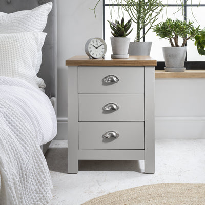 Bampton Grey Bedside Table - 3 Drawer - Laura James