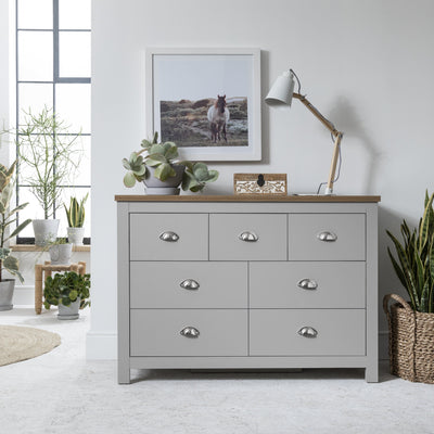 3 Over 4 - Chest of Drawers in Grey - Bampton IN STOCK 18 DECEMBER