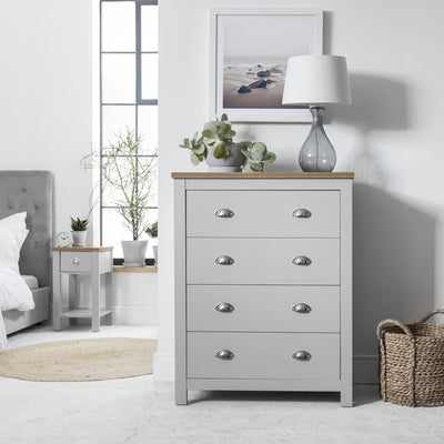 Chest of 4 Drawers in Grey - Bampton IN STOCK 18 DECEMBER