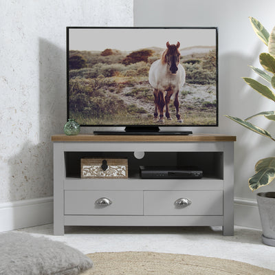 Bampton Grey Corner TV Unit - Laura James