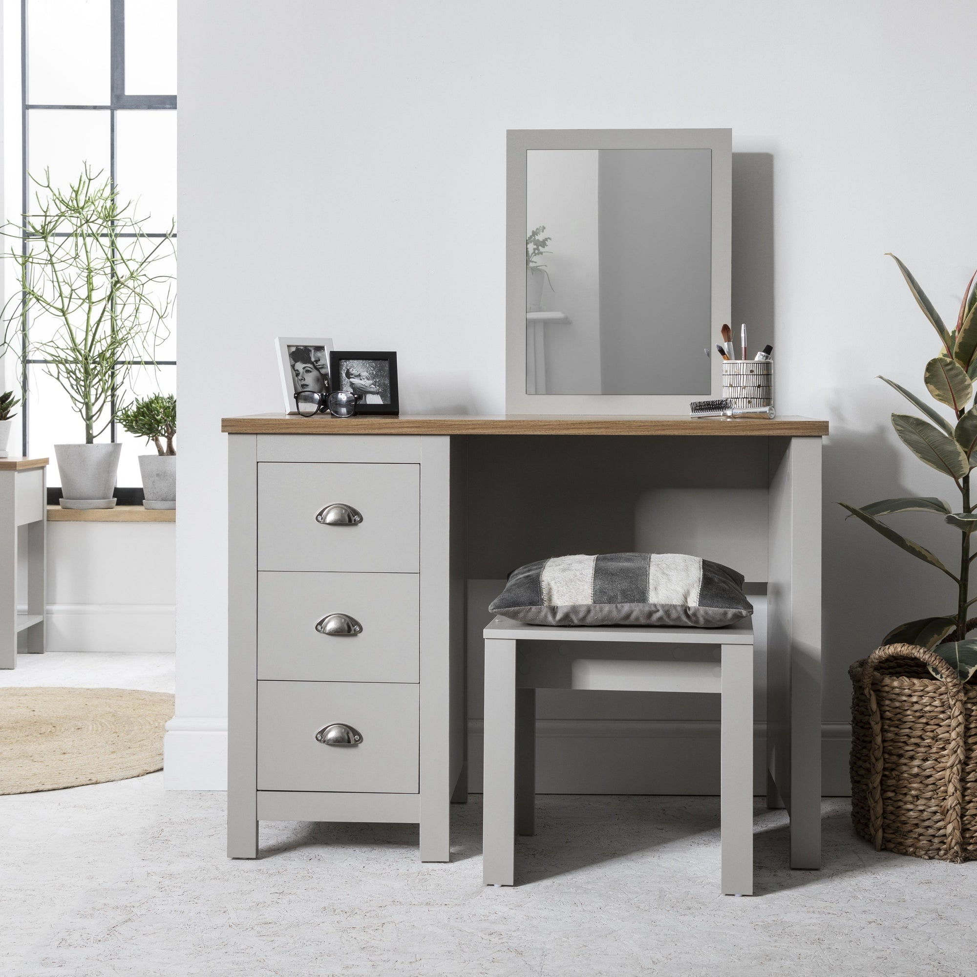 Bampton Dressing Table with Stool in Grey - Laura James