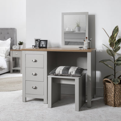 Bampton Dressing Table with Stool in Grey - IN STOCK 18 DECEMBER